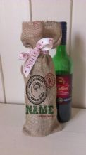 Personalized Made By Santa Wine Father Christmas Xmas Santa Sack / Stocking Bag Jute Hessian